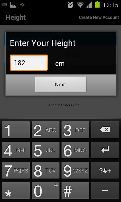 calorie counter height
