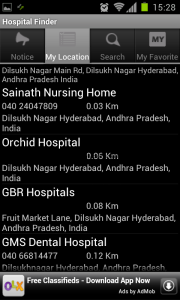 hospital finder your location
