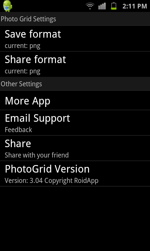 Photo Grid Settings