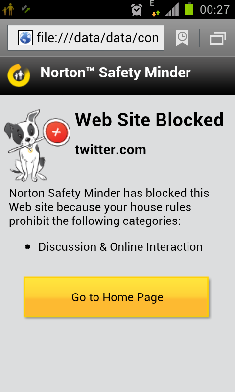 norton safety minder website blocked twitter