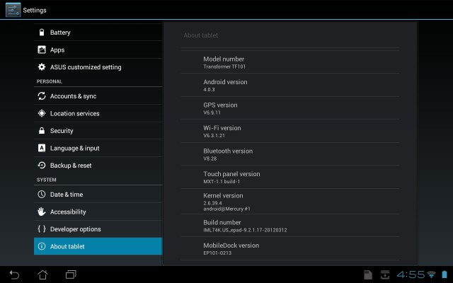 Asus Eee Pad Transformer TF101 OTA update