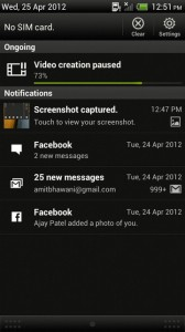 HTC One X Notification Panel