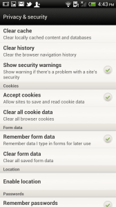HTC One X browser privacy settings