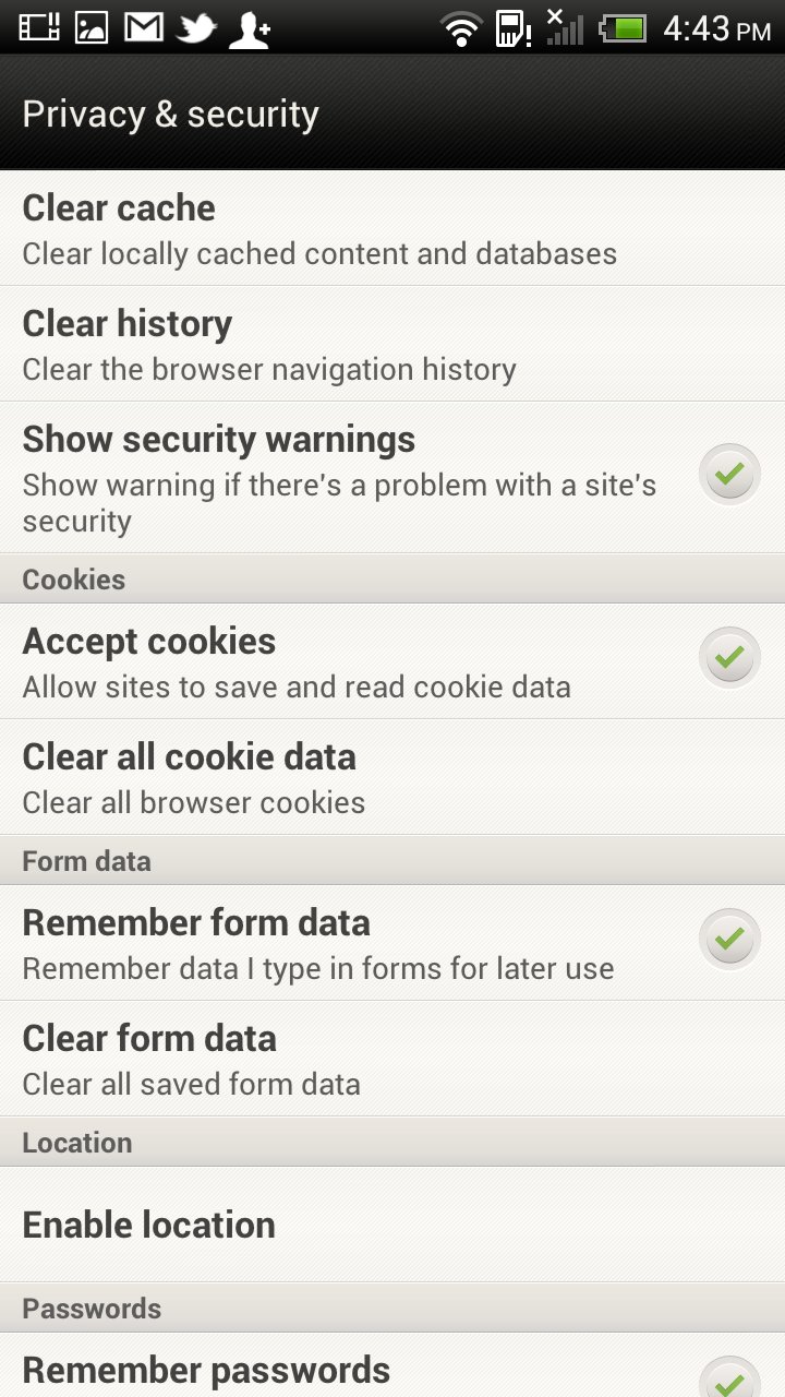 Htc One X Browser Htc One X Browser Privacy Settings Htc One X S720e Mobile  Phone