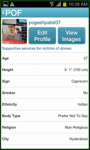 POF dating App profile