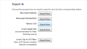 Yahoo Contacts Export