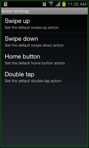 Zeam Launcher Action Bindings
