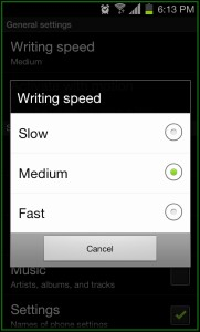 Gesture Search Writing Speed