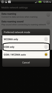 HTC One X network mode