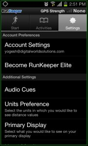 RunKeeper Setting