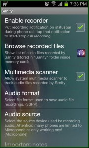 Sanity Modes Call Recorder