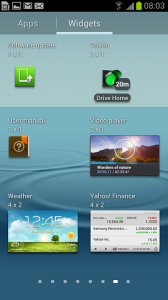 Samsung Galaxy S III Apps Widgets sections