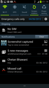 Samsung Galaxy S III Notification Panel