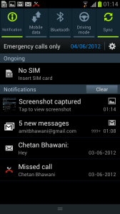 Samsung Galaxy S III Notification Panel 2