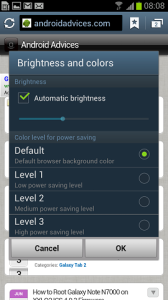 Samsung Galaxy S III browser brightness settings