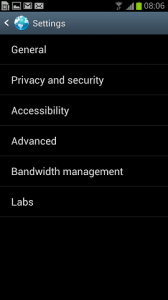 Samsung Galaxy S III browser settings
