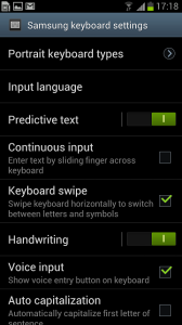 Samsung Galaxy S III keyboard settings 2