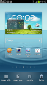 Samsung Galaxy S III placing widget