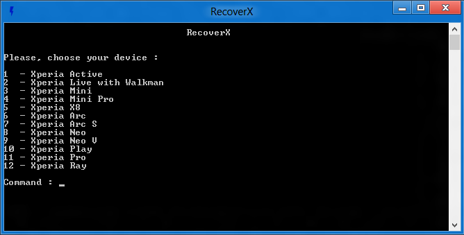 Select device RecoveryX