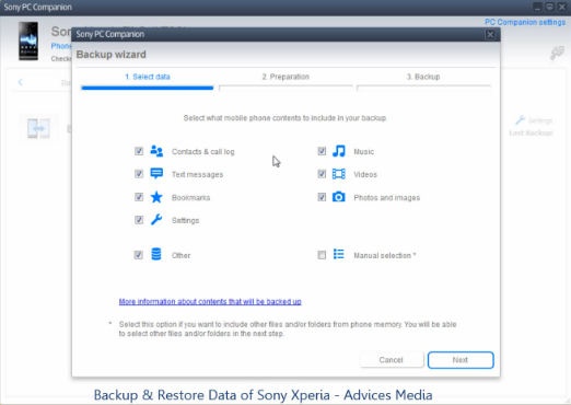 Sony Backup procedure