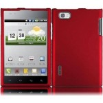 Red Hard Case Snap On Rubberized Cover For LG Optimus VU VS950