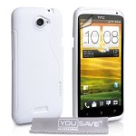 Stylish White S-Line Wave Silicone Gel Case Cover For The HTC One X