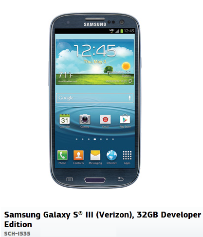 Galaxy S3 developer edition