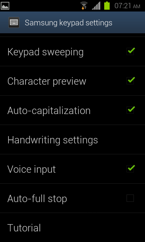 Android Samsung Keypad Settings