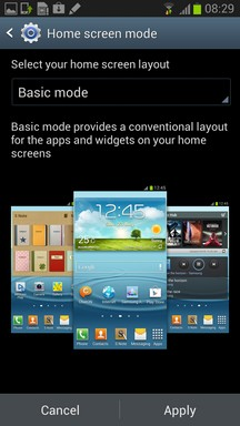 Galaxy Note II Home Screen Basic Mode