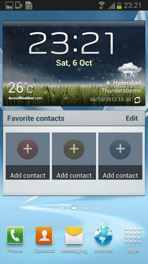 Galaxy Note II Interface Home Screen