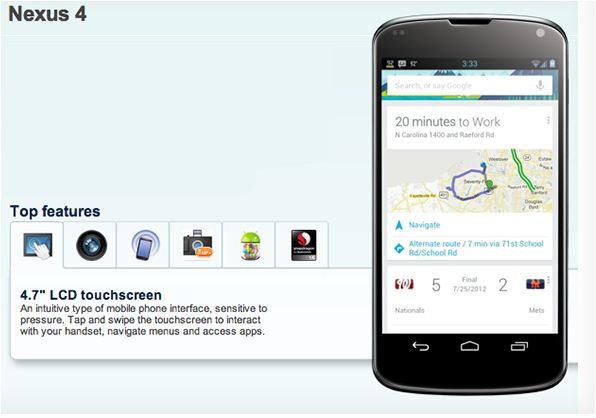 LG Nexus 4 Smartphone features