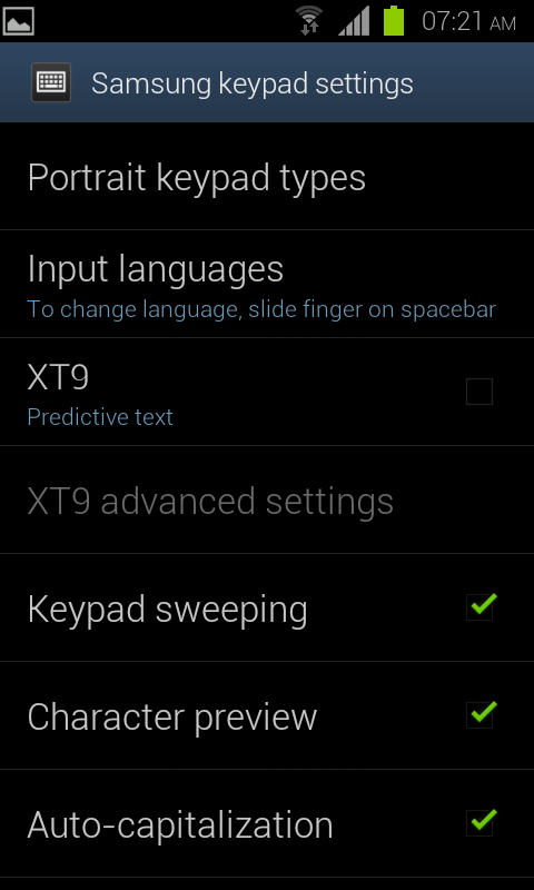 Samsung Android Keyboard Settings