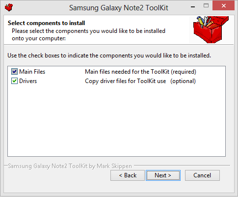 Samsung Galaxy Note2 Toolkit Components