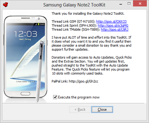 Samsung Galaxy Note2 Toolkit Installed