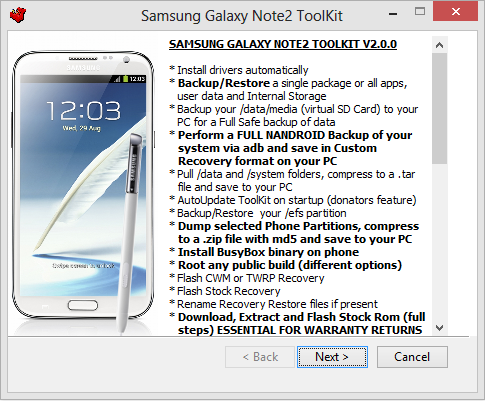 Samsung Galaxy Note2 Toolkit installation