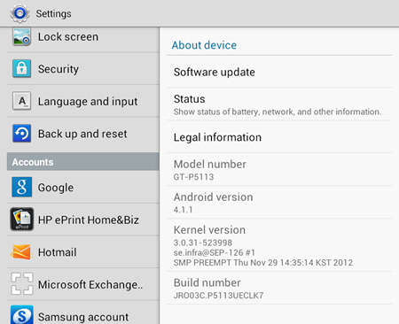 Samsung Galaxy Tab 2 7.0 Android 4.1.1 Update