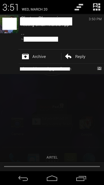 Gmail App Android Reply Notification Panel