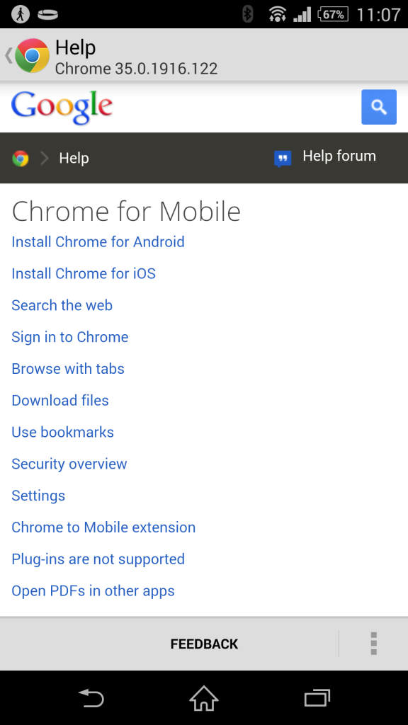 Google Chrome APK 35.0.1916.122