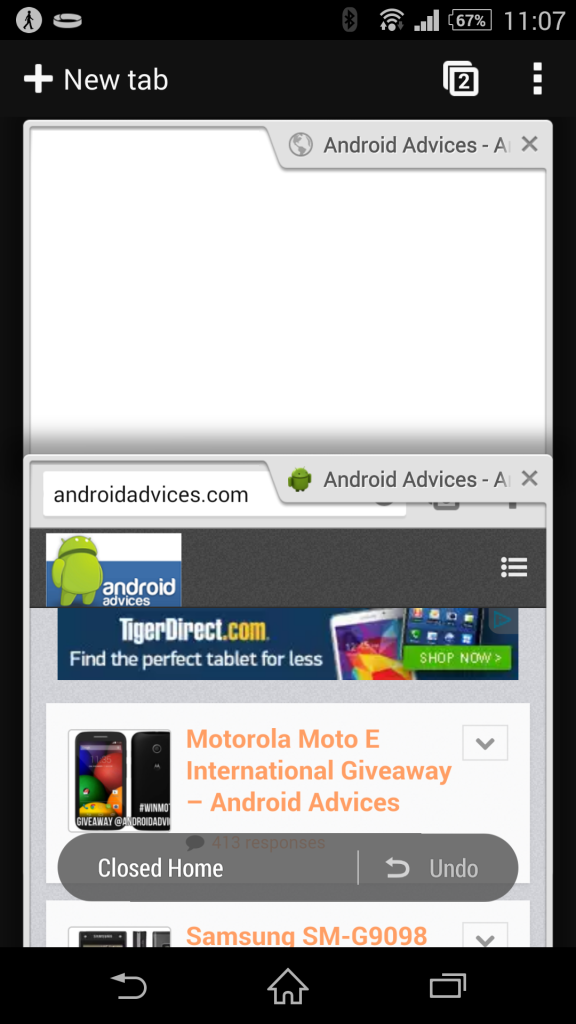 Google Chrome APK Undo Tab Feature