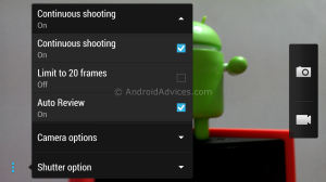 HTC One Continious Shooting Settings