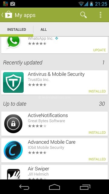 Google Play Store Recently Updated Apps