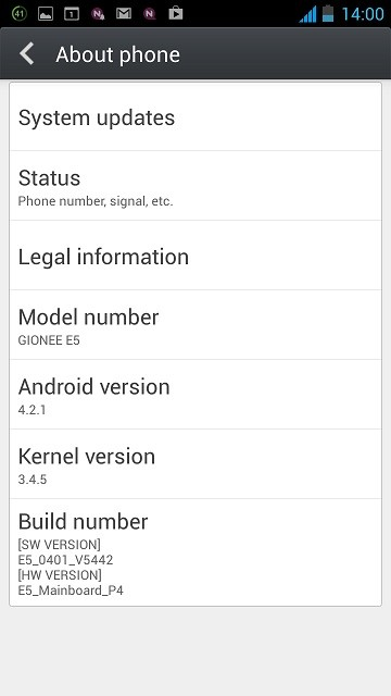 Gione Elife E5 Android OS