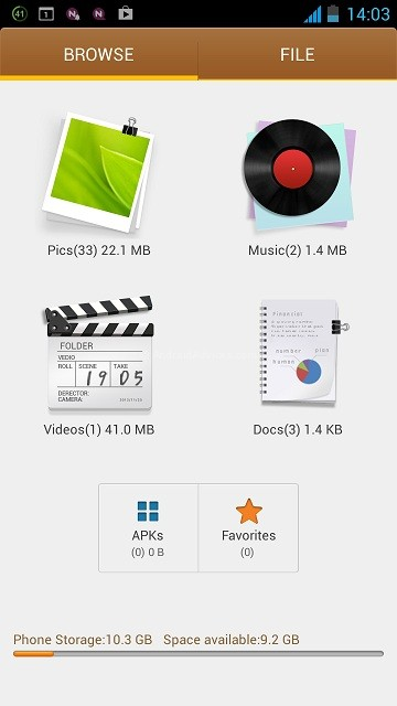 Gionee Elife E5 File Manager