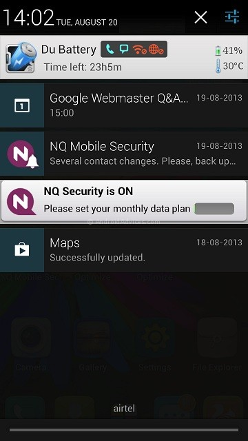 Gionee Elife E5 Notification Panel