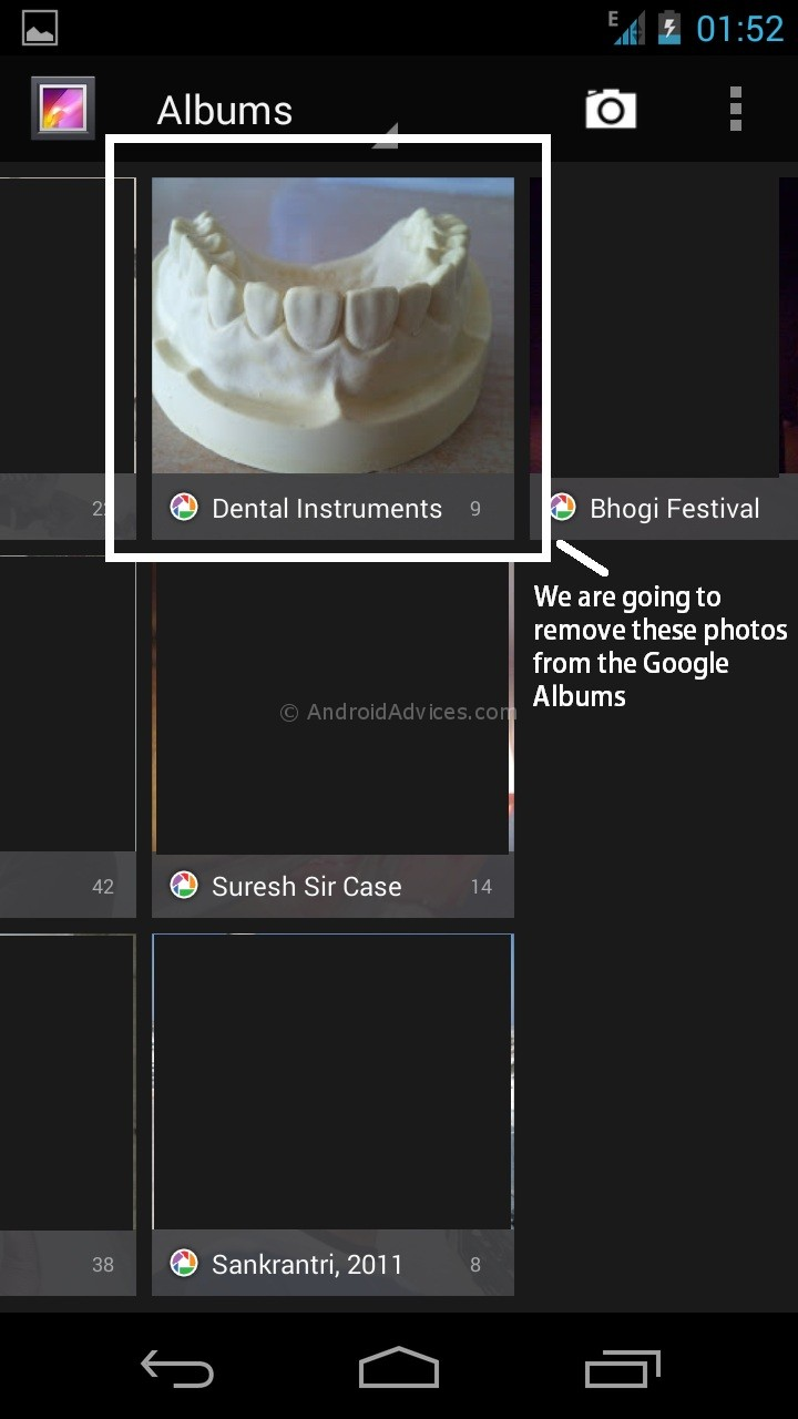 Google Photos Albums in Android