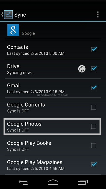 Google Photos Sync Off Android