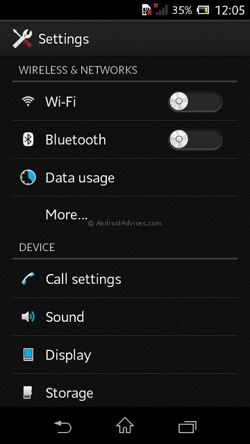 Sony Xperia M Settings