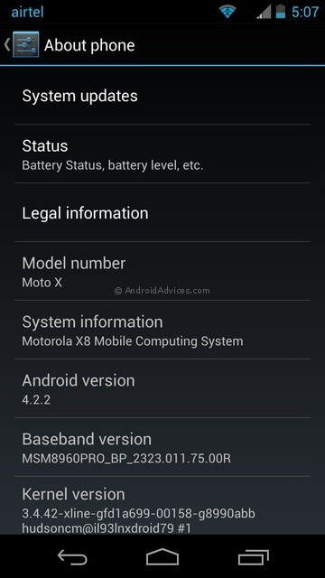Moto X Interface OS Version