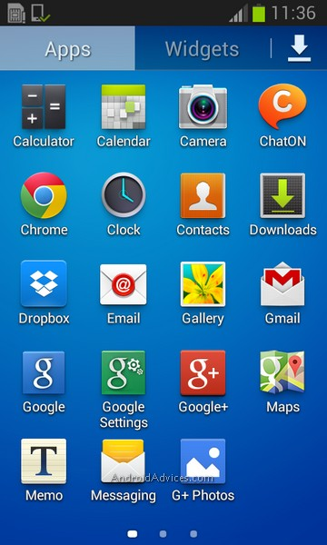 Samsung Galaxy Trend Interface App Pages