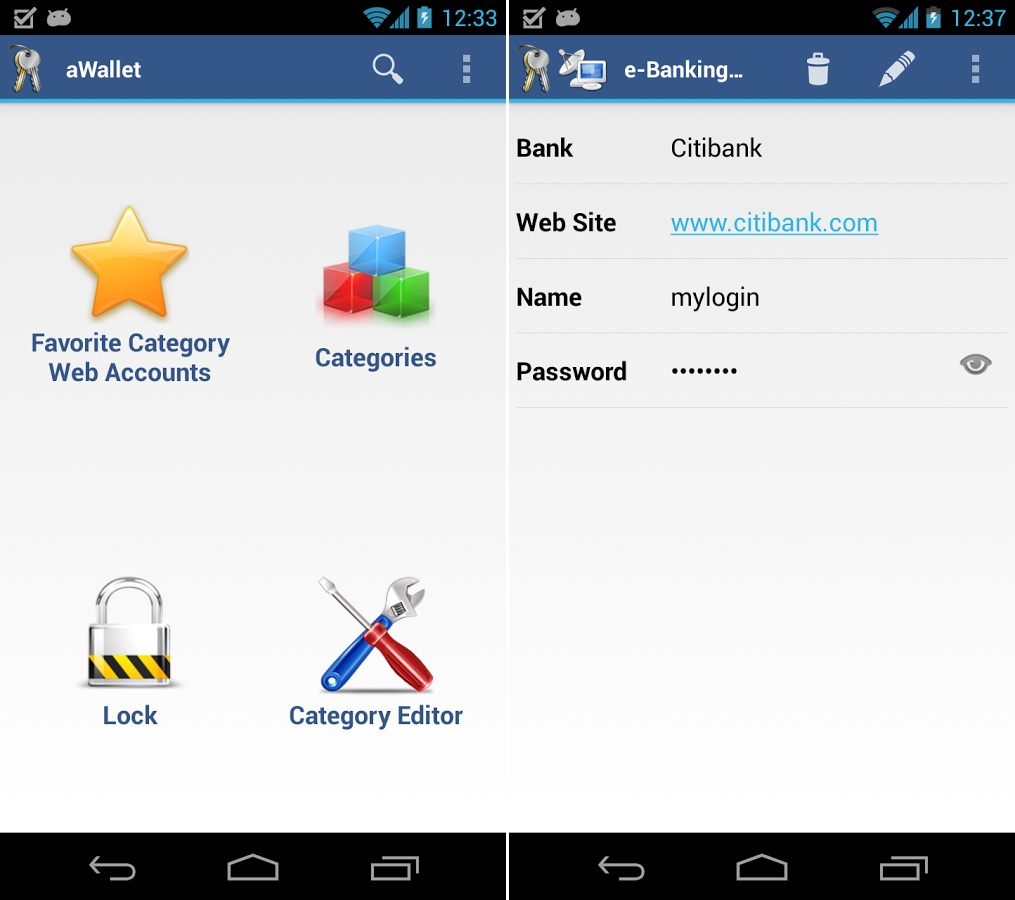 aWallet Password Manager Android
